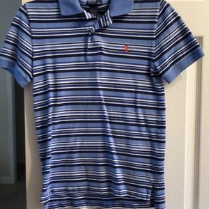 Polo by RL. Blues and white striped.  Size M 10-12